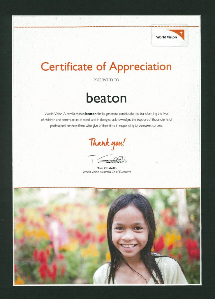 World Vision Certificate