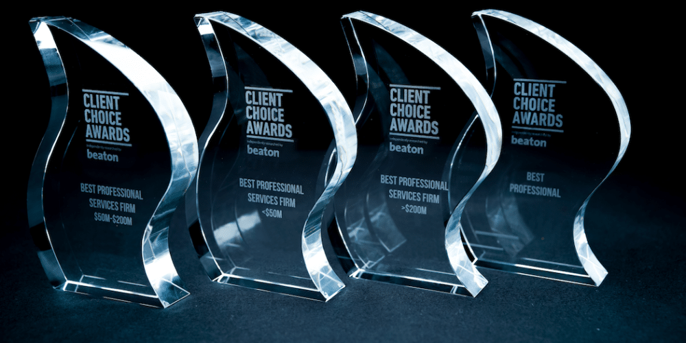 Client Choice Awards trophies